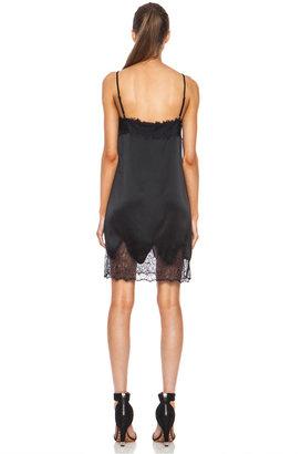 Haute Hippie Lace and Charm Silk Slip Night Dress in Black