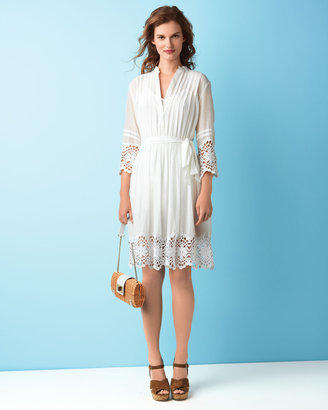 Neiman Marcus Gauze Lace-Trim Dress