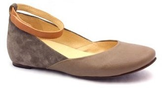 "Chloé See by SB19129"" Taupe Leather & Suede Ankle Strap Ballet"