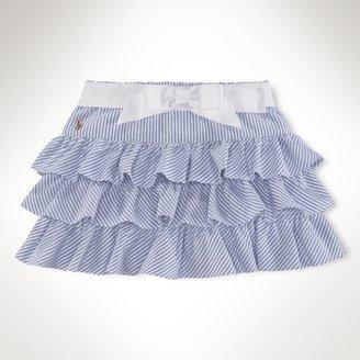 Seersucker Skirt With Bow