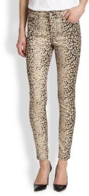 7 For All Mankind Faded Leopard-Print Skinny Jeans