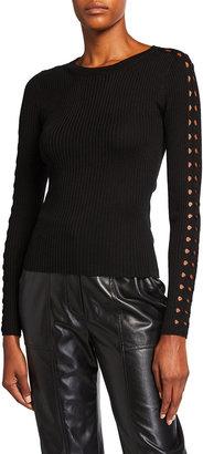 Jonathan Simkhai Hazel Ribbed-Knit Merino Wool-Blend Eyelet Sweater