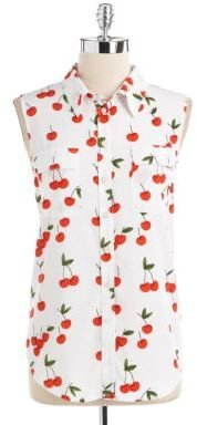 Vince Camuto TWO BY Sleeveless Printed Utility Shirt