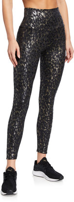 Onzie Foil Sheen Animal-Print Midi Leggings