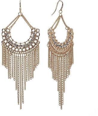 JLO by Jennifer Lopez gold tone simulated crystal fringe chandelier earrings