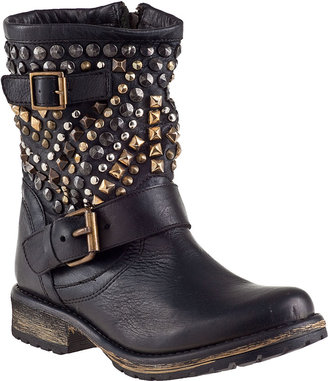 Steve Madden Marcoo Biker Boot Black Leather