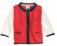 Petit Bateau Baby girl color block cardigan in wool and cotton knit