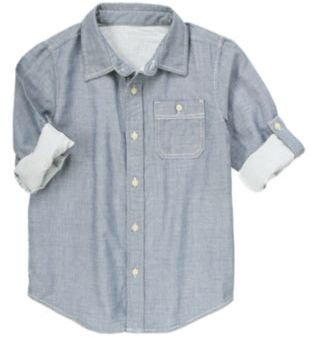 Crazy 8 Double Weave Chambray Roll Cuff Shirt