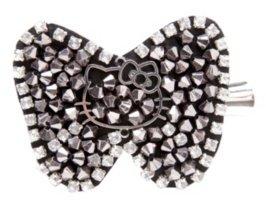 Hello Kitty Hematite Beaded Bow Hair Clip