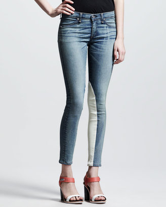 Rag and Bone Jodhpur Leather-Panel Jeans