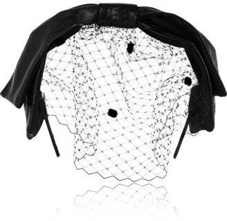 Eugenia Kim Carmel glossed-leather and tulle bow headband
