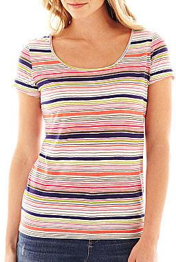 Liz Claiborne Short-Sleeve Cabana Striped Tee