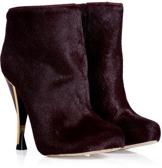 Diane von Furstenberg Claret Haircalf Platform Ankle Boots with Metal Optical Heel