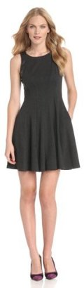 Jessica Simpson Women's Fit And Flare Dress With Faux Leather Trim