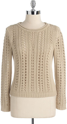 Vince Camuto Petites Open Cableknit Sweater