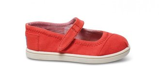 Toms Red canvas tiny mary janes