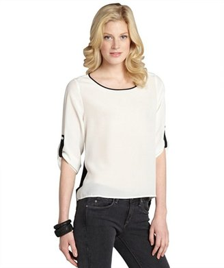 Wyatt white and black silk convertible sleeve blouse