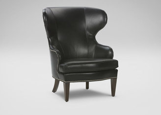 Ethan Allen Rand Leather Wing Chair