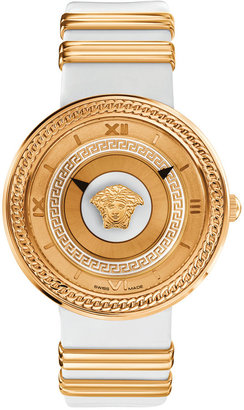 Versace Unisex Swiss V-Metal Rose Gold Ion-Plated Accent White Leather Strap Watch 40mm VLC040014 $1,695 thestylecure.com