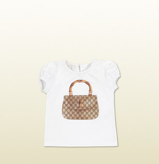 Gucci Short Sleeve T-Shirt With Bamboo Bag Print And Studs