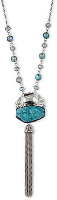 LONNA & LILLY Silver Tone and Turquoise Tone Pendant Necklace with Tassel