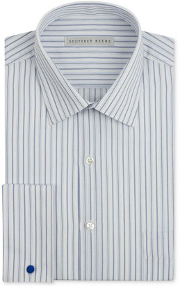 Geoffrey Beene White and Blue Jay Stripe French Cuff Shirt