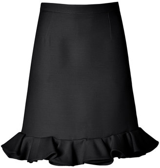 Valentino Wool/Silk Flounce Skirt in Black