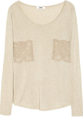 LnA Lover lace-appliquéd jersey top