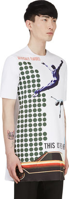Raf Simons White & Green A-Line Collage Print Top