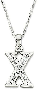 JCPenney FINE JEWELRY Initial Necklace, Crystal Sterling Silver