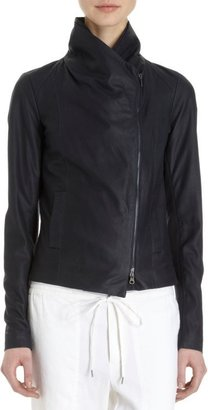 Vince Women's Leather Scuba Jacket-Blue