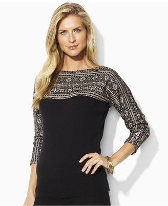 Lauren Ralph Lauren Lauren by Ralph Lauren Sweater, Tolla Three Quarter Sleeve Fair Isle Boatneck