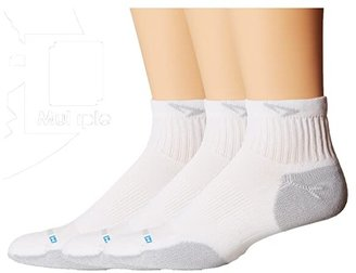 Drymax Sport Sport Quarter-Crew 3-Pair Pack (White/Grey) Quarter Length Socks Shoes
