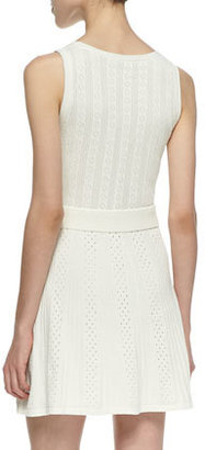 Trina Turk Trina by Marcela Mixed Eyelet Fit-And-Flare Dress, Chalk