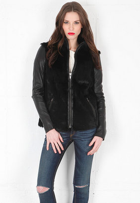 Veda Rocket Fur Jacket in Black