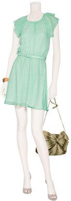 Tara Jarmon Mint Green Polka Dot Silk Dress