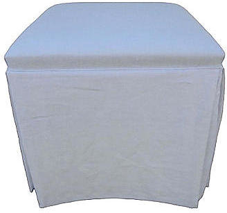 Fragments for Neiman Marcus Identity Custom-Skirted White Linen Ottoman