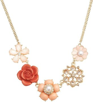 LC Lauren Conrad Gold Tone Simulated Crystal & Simulated Pearl Flower Necklace $24 thestylecure.com