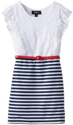 Amy Byer Big Girls' Dress Lace Flutter Sleeve Knit Skirt