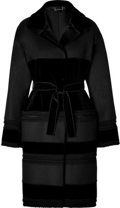 Alberta Ferretti Wool/Velvet Patchwork Coat in Black