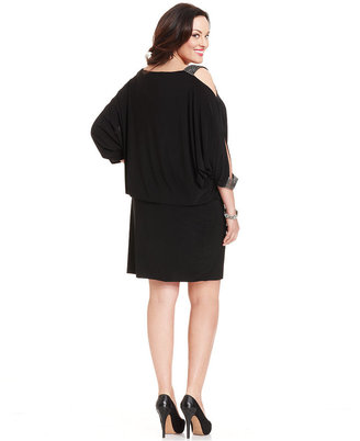 Betsy & Adam Plus Size Split-Sleeve Blouson Dress