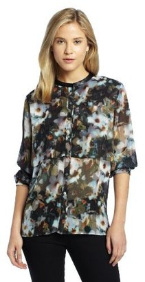 Chaus Women's Long Sleeve Button Up High Neck Floral Blouse