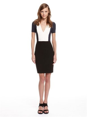 DKNY Luxe Crepe Color Blocked Short Sleeve V-Neck Dress