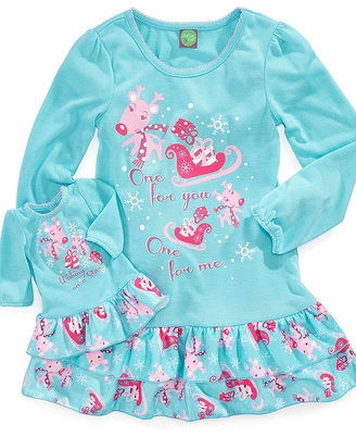 Dollie & Me Kids Pajamas, Girls and Little Girls Reindeer Gown and Matching Doll Outfit Set