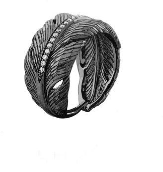 Michael Aram Rhodium-Plated Diamond Feather Band Ring, Size 7