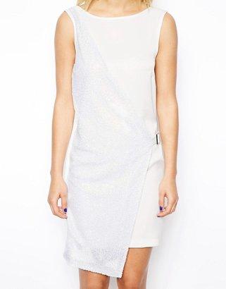 Asos Optic Embellished Cross Front Dress