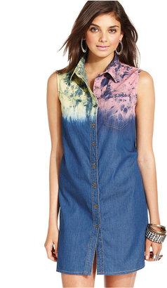 Angie Juniors Dress, Sleeveless Tie-Dye Denim Shirtdress