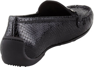 Stuart Weitzman Running Snake-Print Patent Leather Moccasin