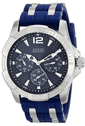 GUESS U0366G2 (Blue/Blue Smooth Silicone Strap/Silver) Analog Watches