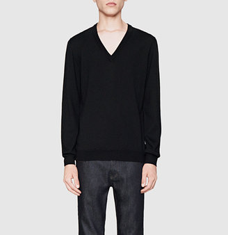 Gucci Black Wool V-Neck Sweater